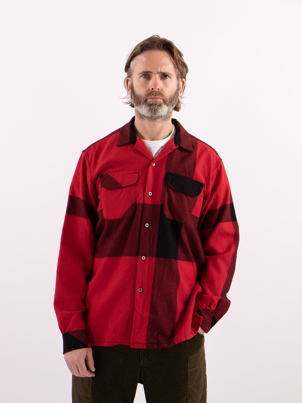 Red/Black Big Plaid Worsted Wool Flannel Classic Shirt - Image 2