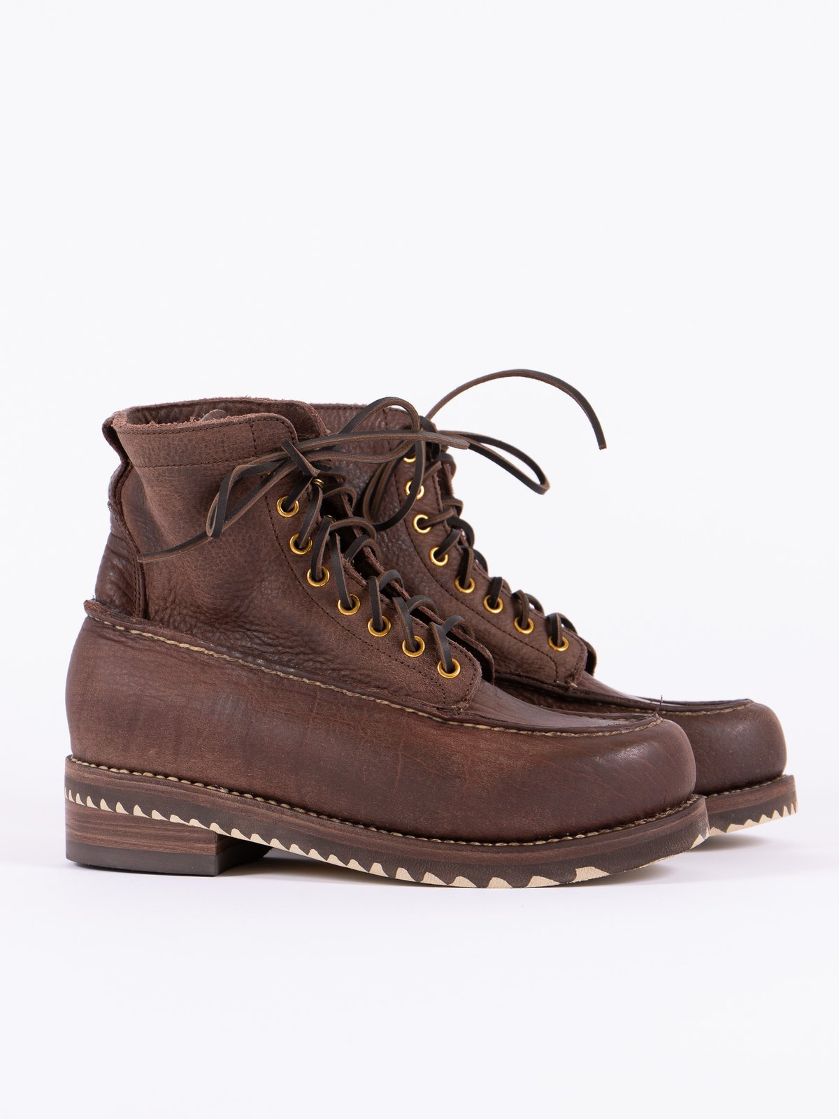 Dark Brown Kainai Moc Toe–Folk - Image 1