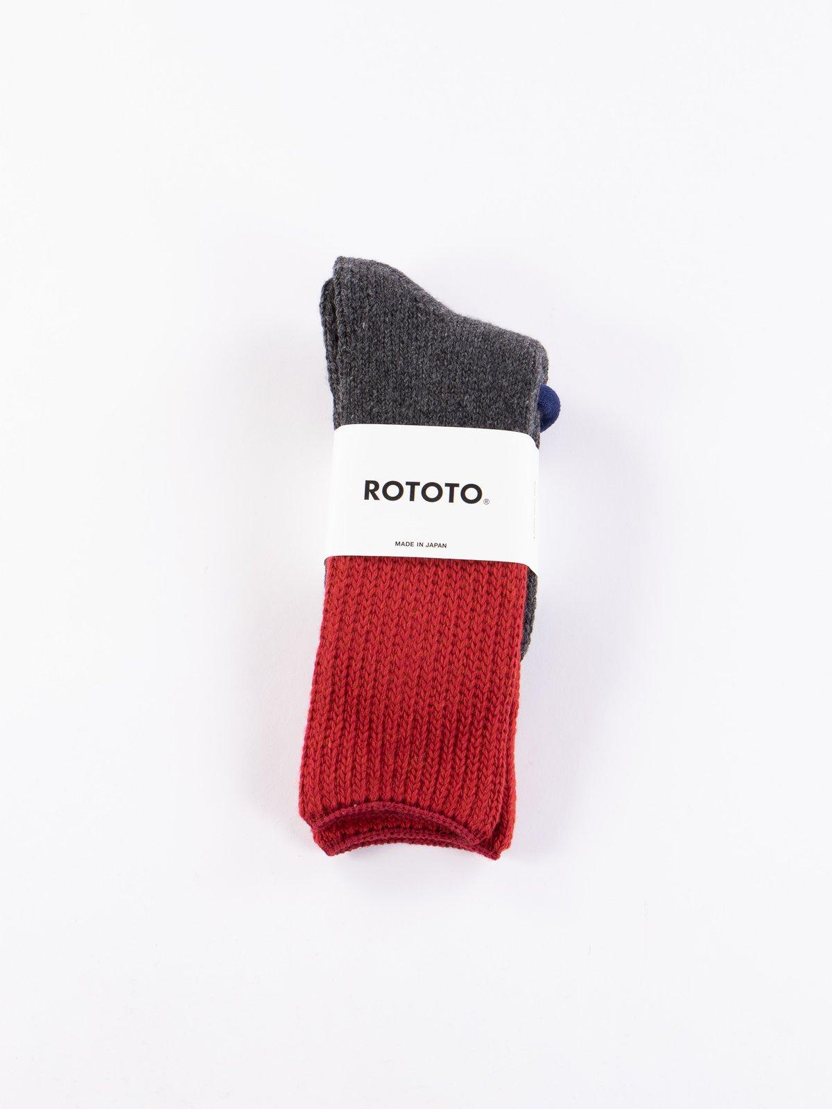 Red/Charcoal Teasel Socks - Image 2