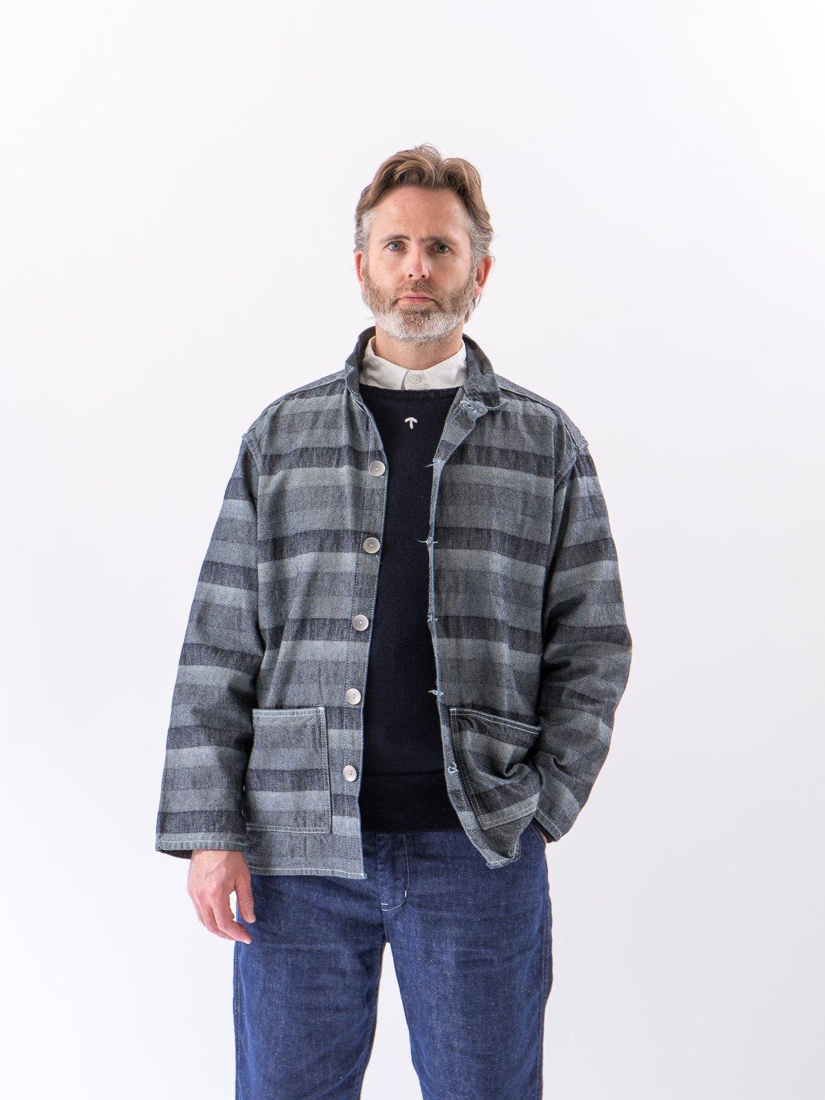Rinse Washed Indigo Weaver's Blanket Stripe Floor Shirt - Image 3