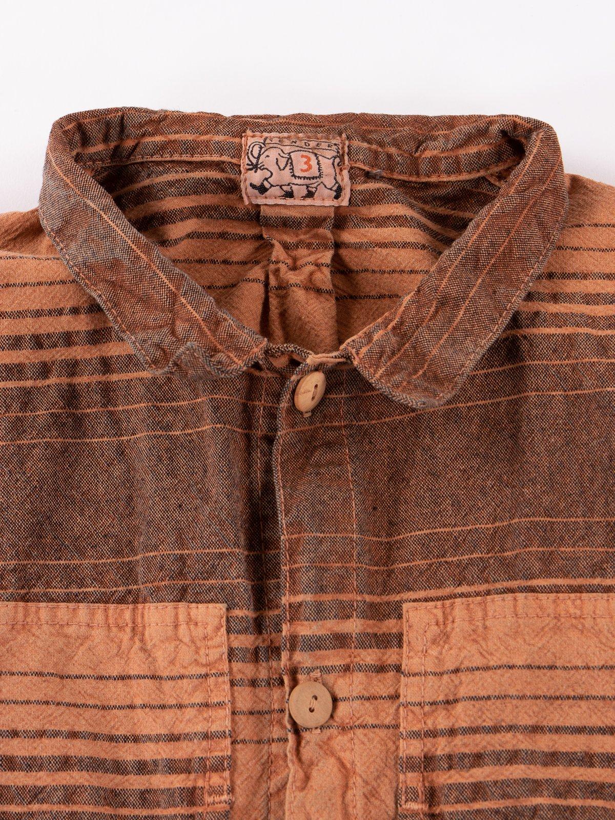 Red Ochre Dye Indigo Doppler Stripe Calico Periscope Pocket Tail Shirt - Image 4