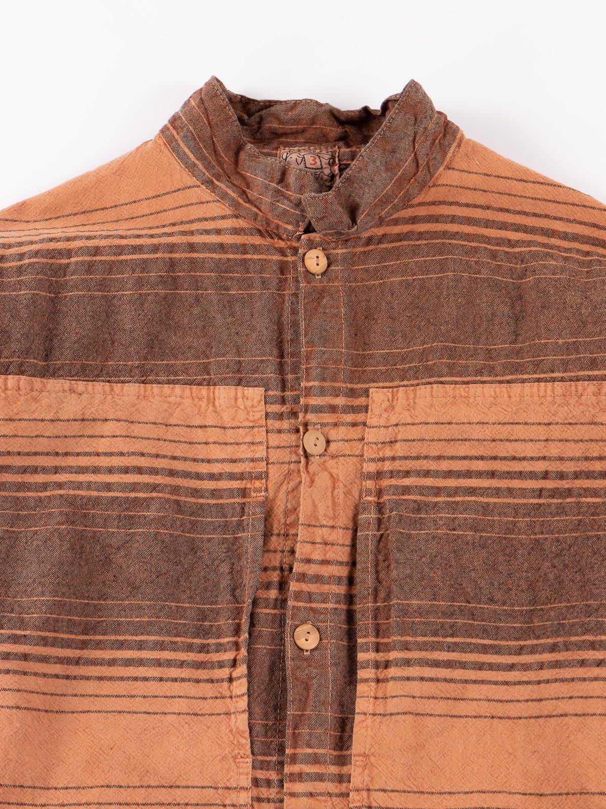 Red Ochre Dye Indigo Doppler Stripe Calico Periscope Pocket Tail Shirt - Image 3
