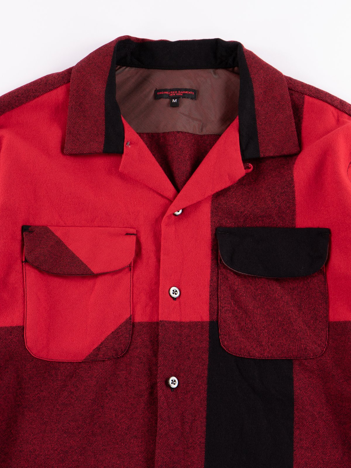 Red/Black Big Plaid Worsted Wool Flannel Classic Shirt - Image 3