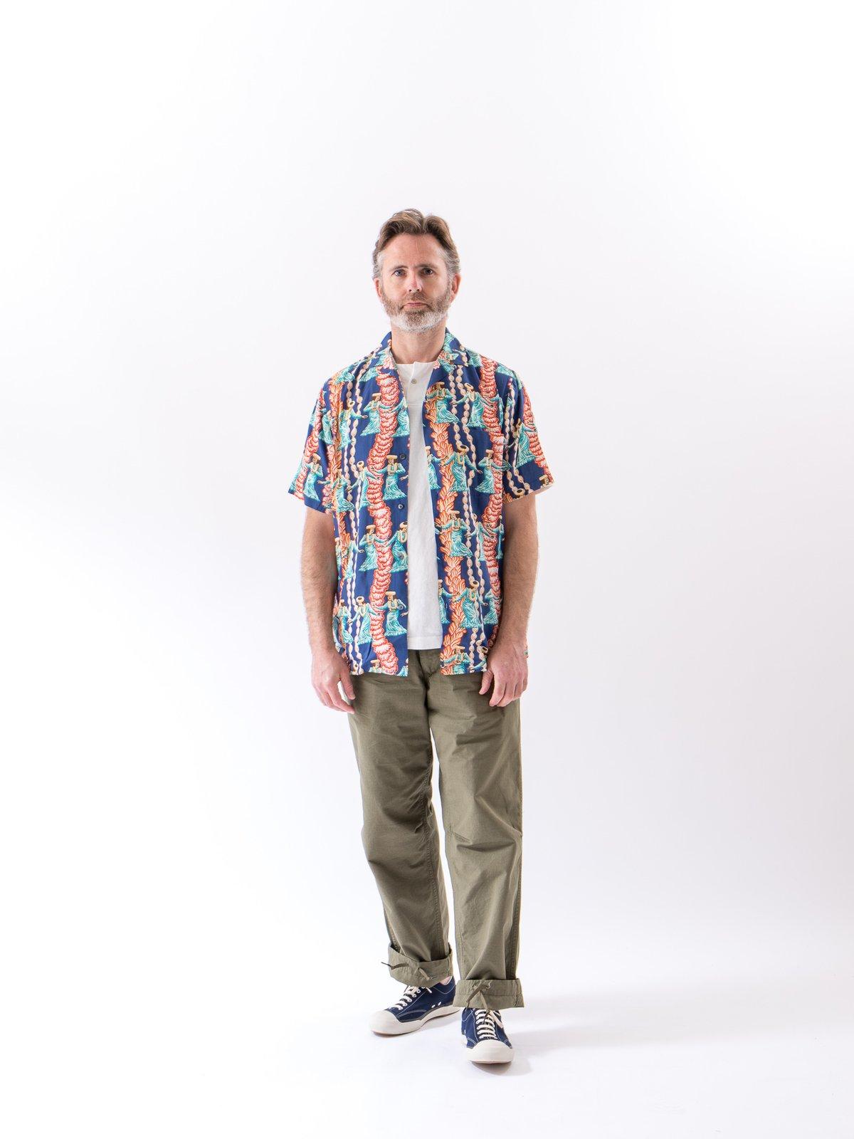 Navy Hula Auana Rayon Camp Shirt - Image 2