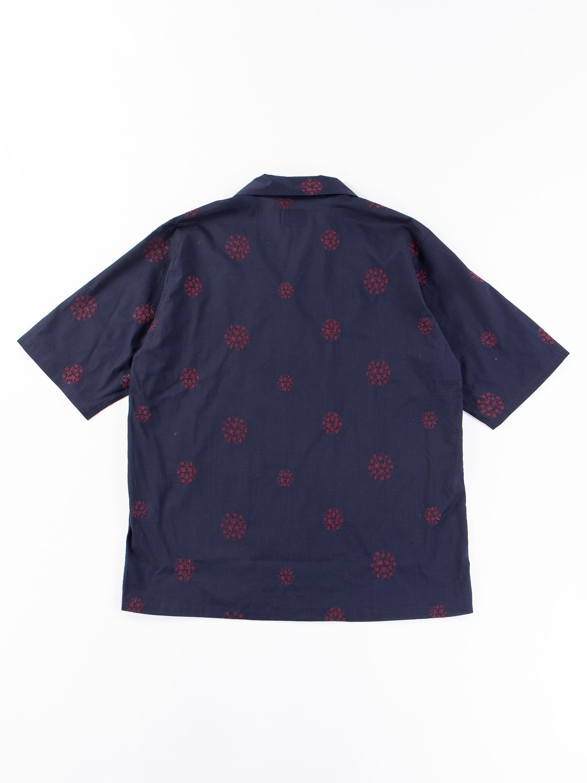 Navy Floral Dot Embroidered Cabana Shirt - Image 4