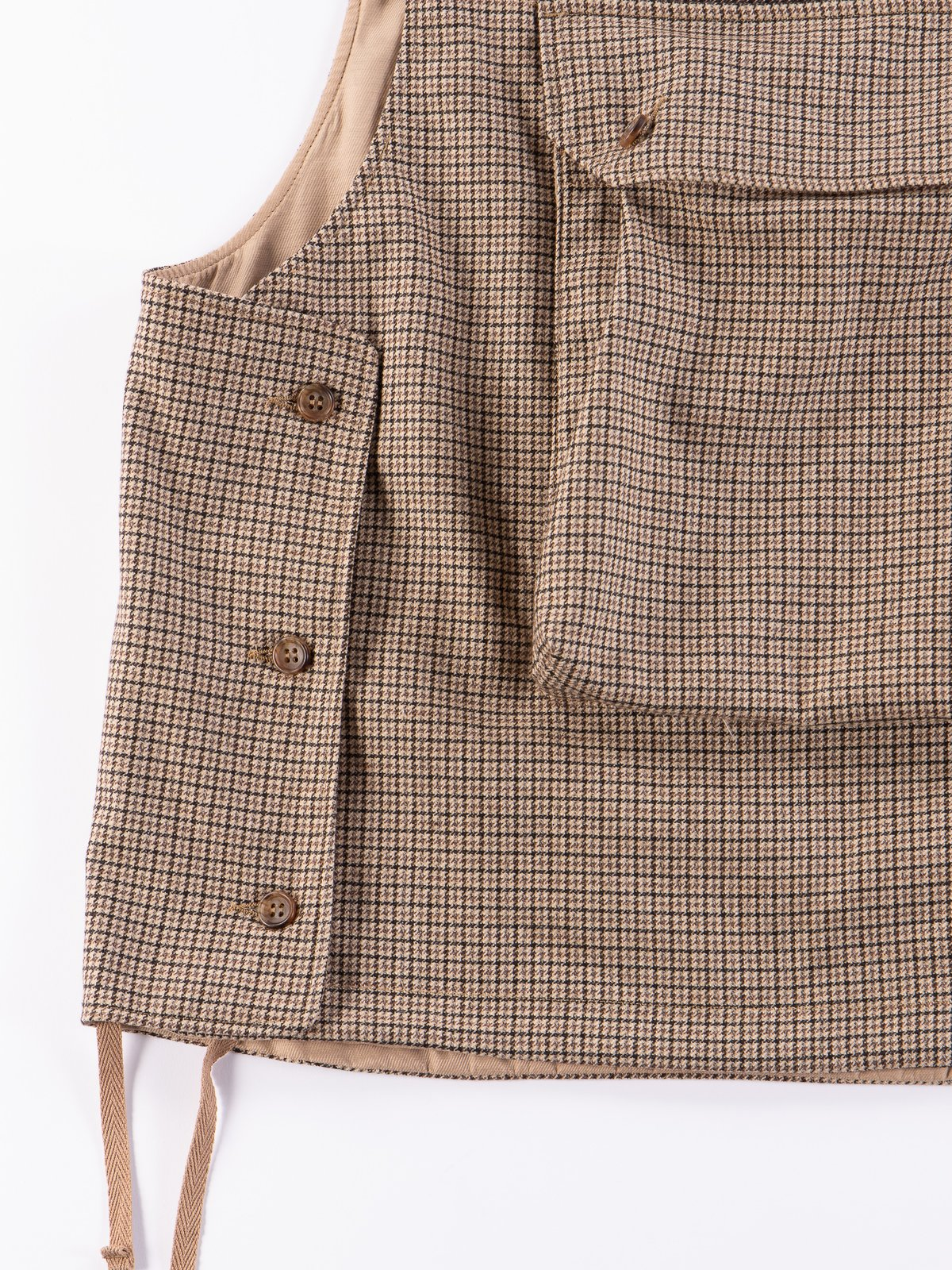 Brown Wool Poly Gunclub Check Cover Vest - Image 4