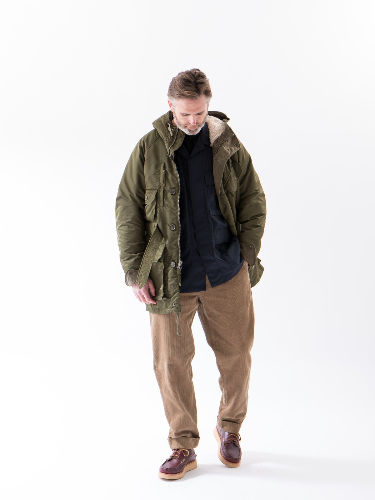Olive Flight Satin Nylon Field Parka - Image 3