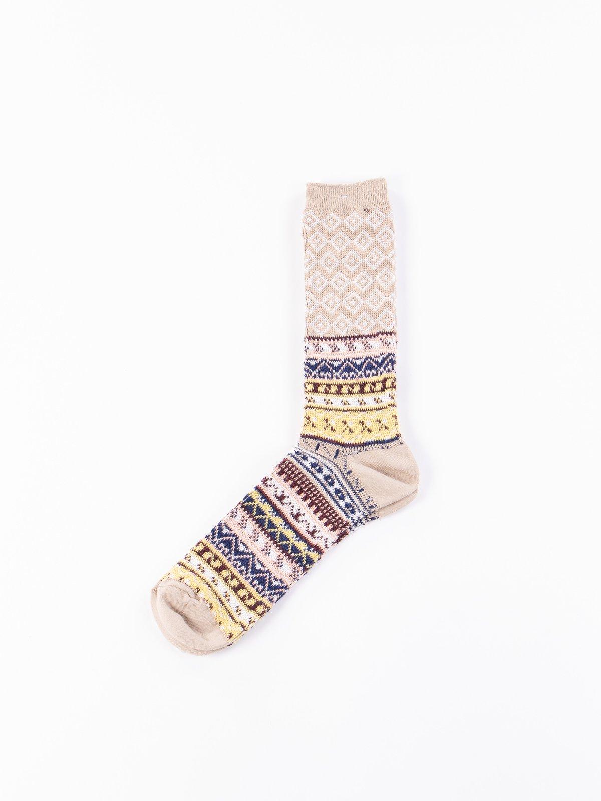 Beige Fairisle JQ Crew Socks - Image 1