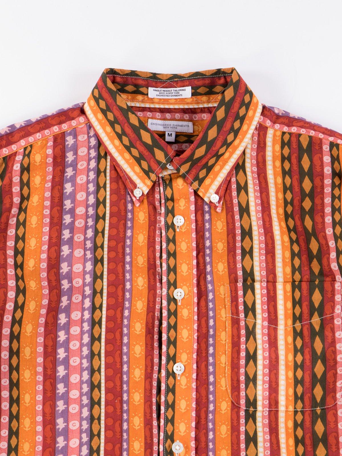 Orange Cotton Lawn Batik Stripe 19th Century BD Shirt - Image 4