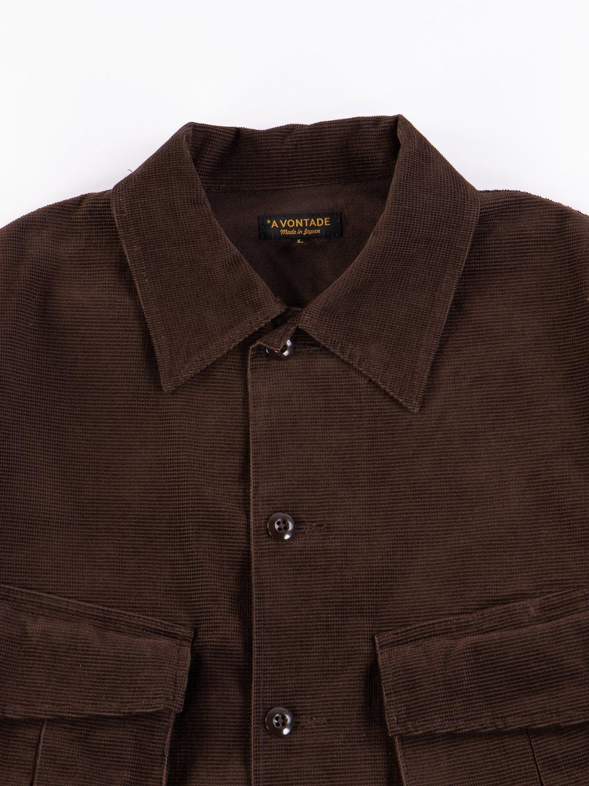 Dark Brown Dobby Caramel Corduroy Combat Short Jacket - Image 3