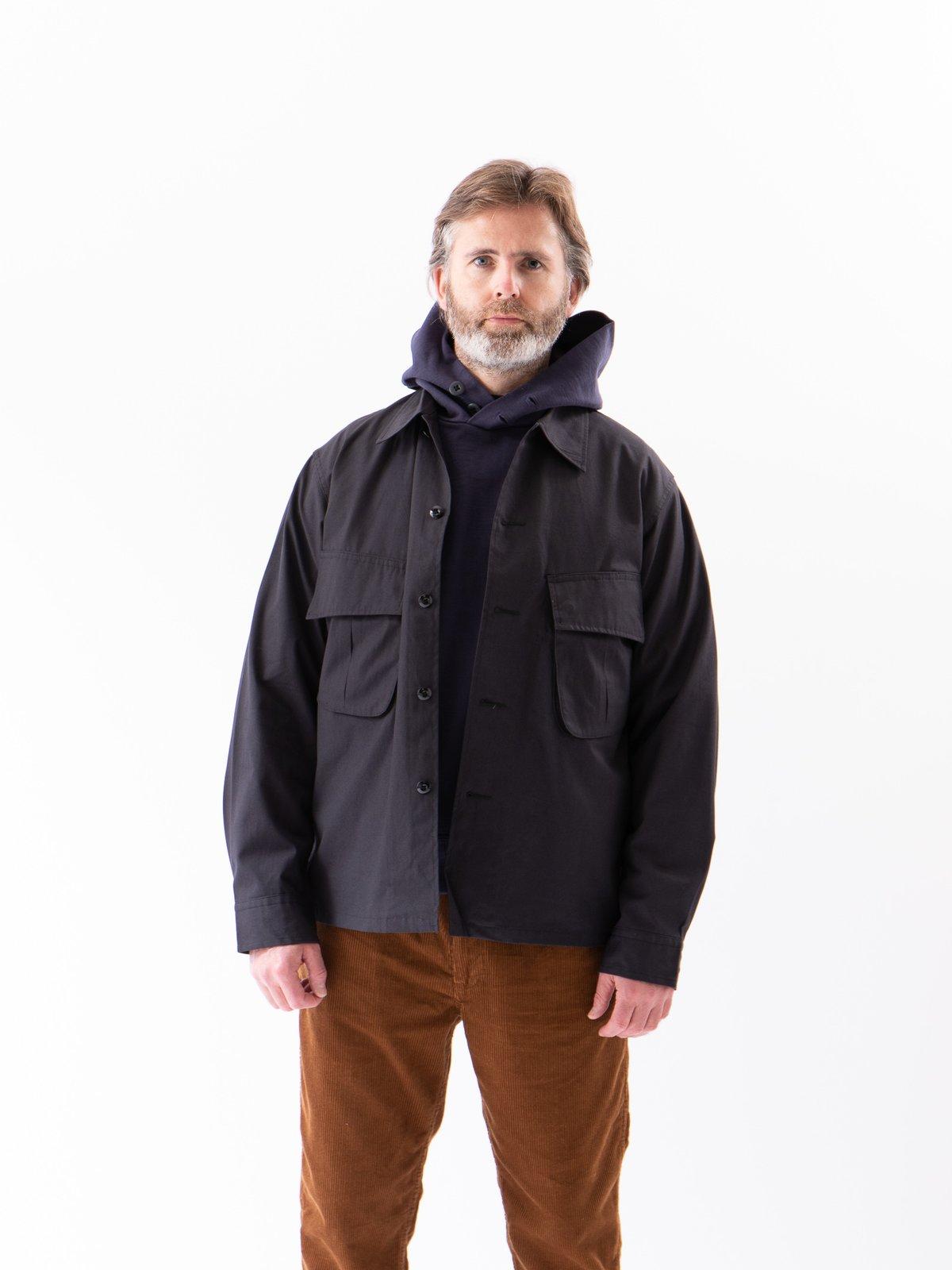 Fade Black Selvedge Poplin Cotton Combat Short Jacket - Image 2