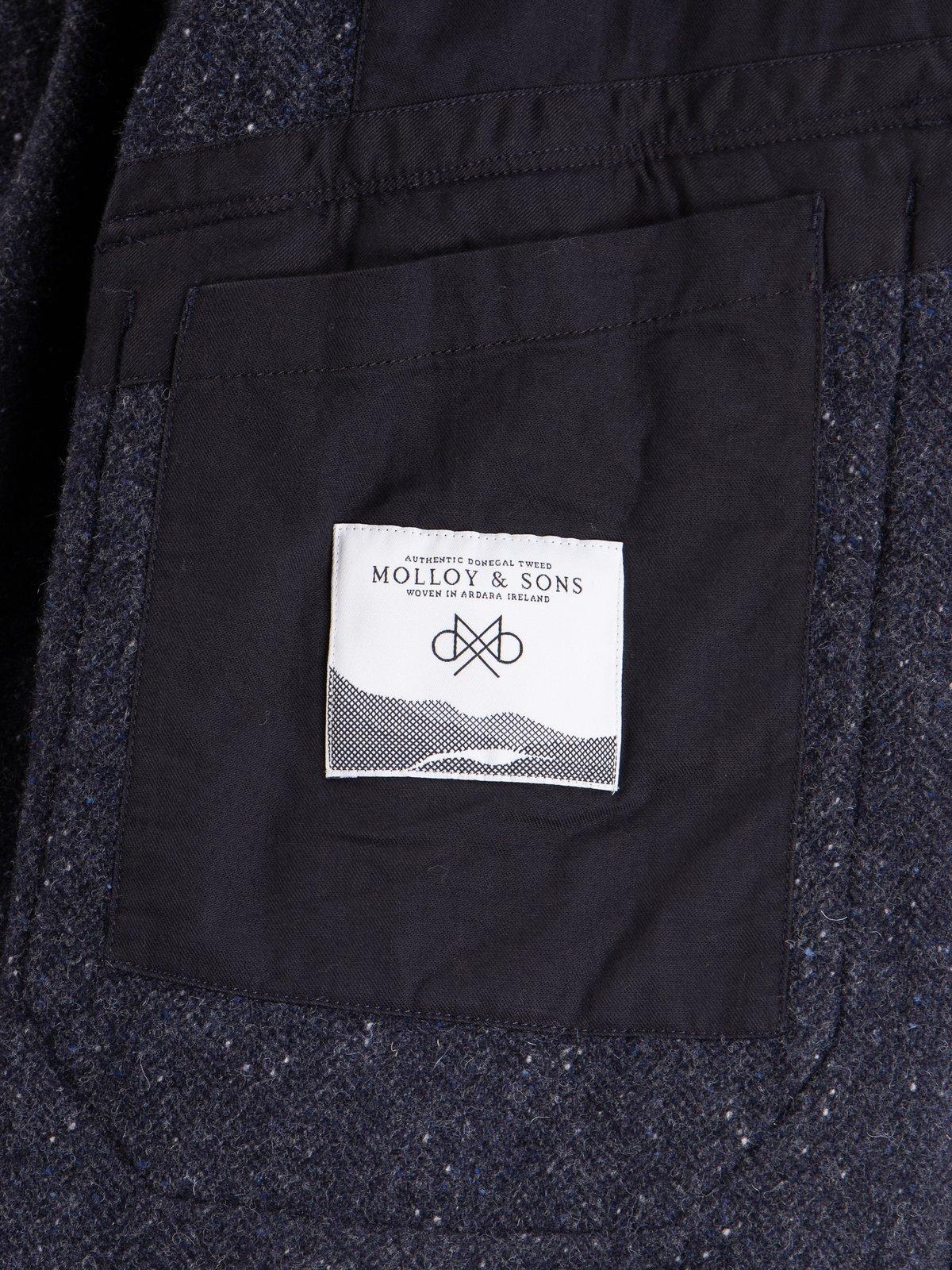 Navy Herringbone Donegal Wool Tweed Madison Parka - Image 10