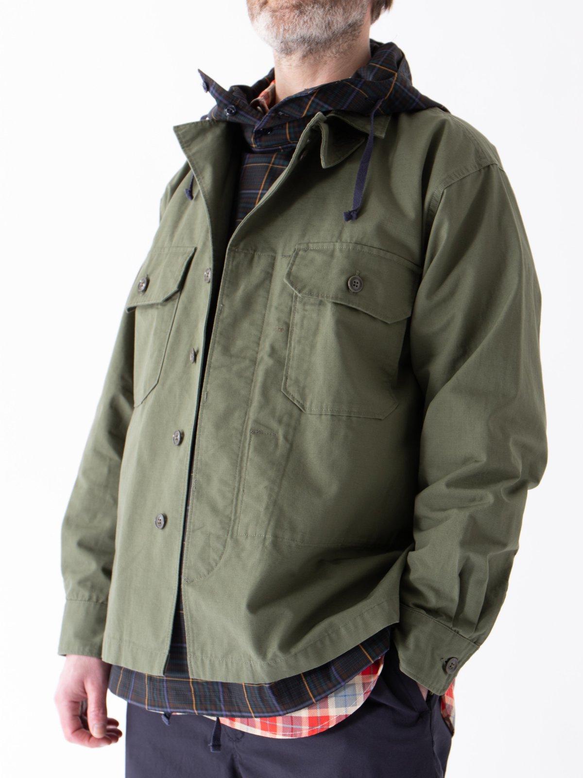 Olive Cotton Ripstop MC Shirt Jacket - Image 3