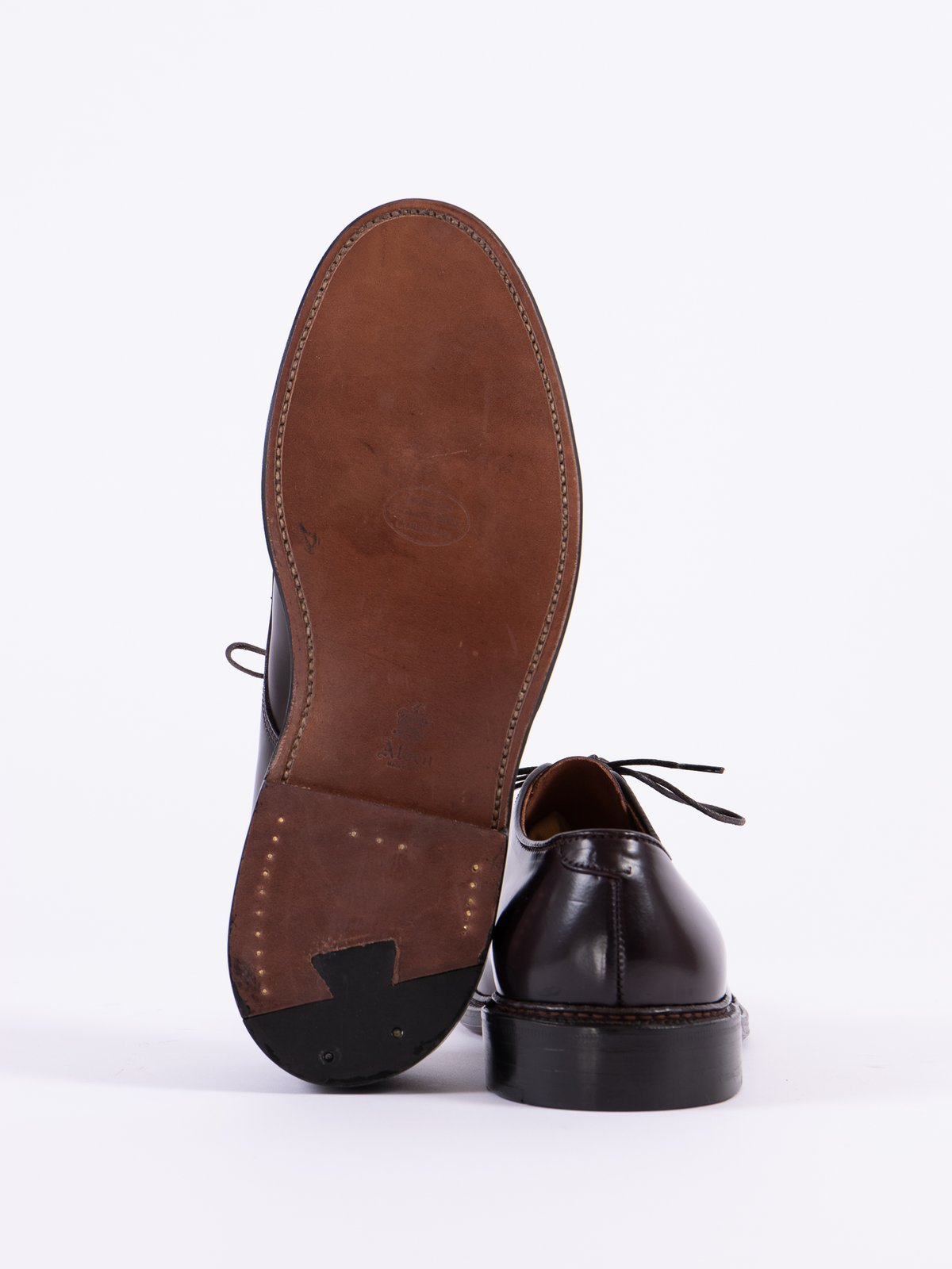 Color 8 Cordovan Plain Toe Blucher with Leather Sole - Image 5