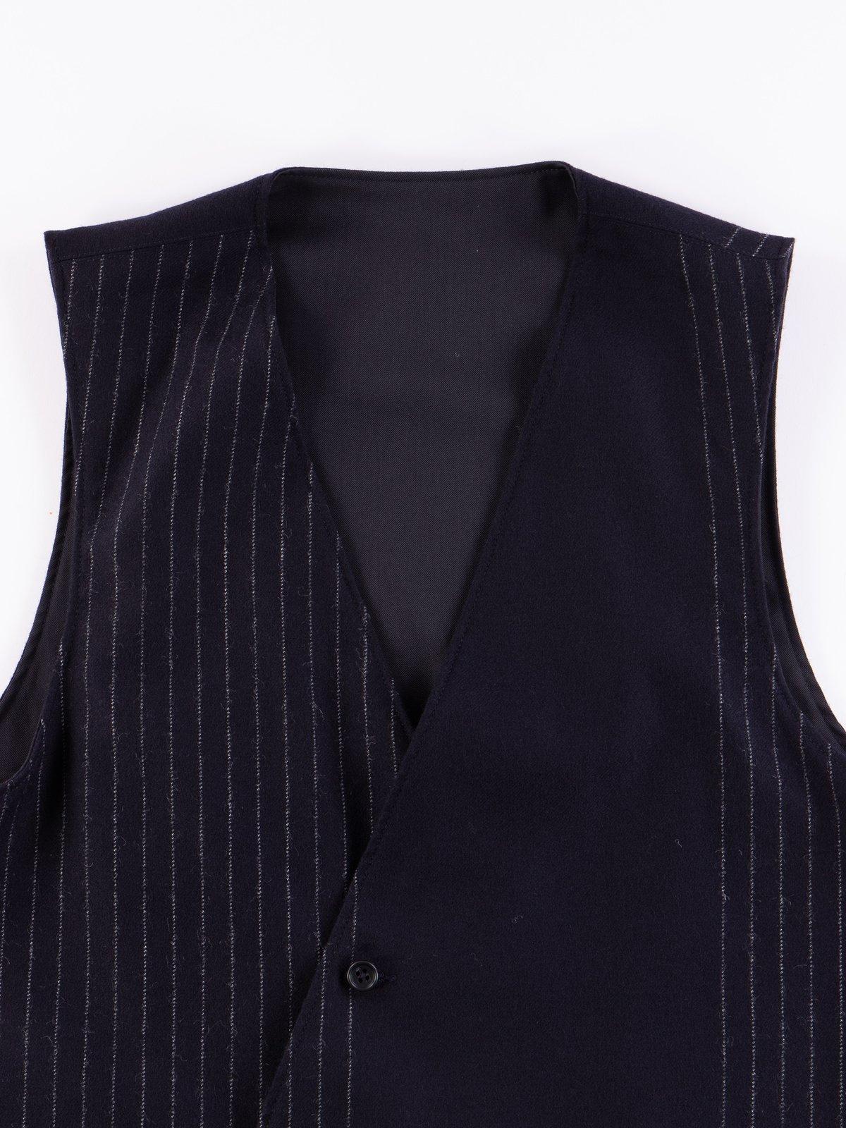Dark Navy Worsted Wool Gabardine Reversible Vest - Image 6