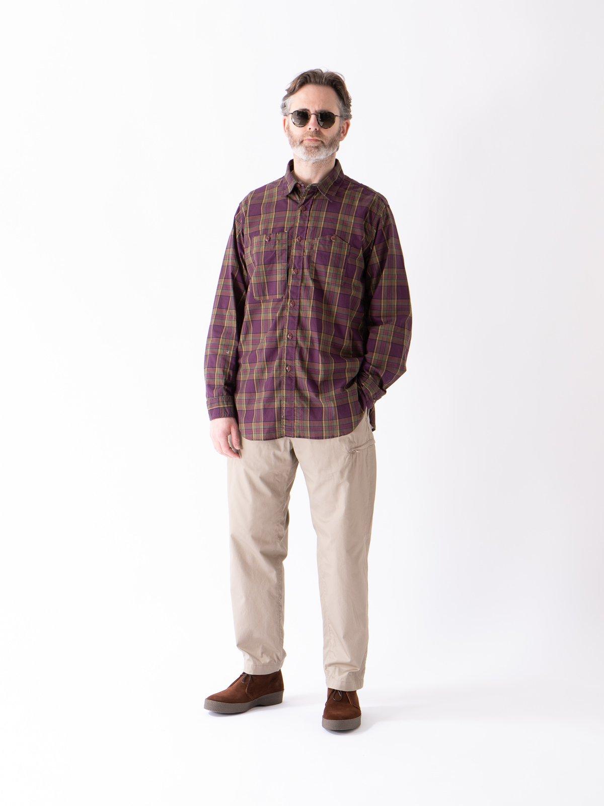 Purple/Green Cotton Printed Plaid Work Shirt - Image 2
