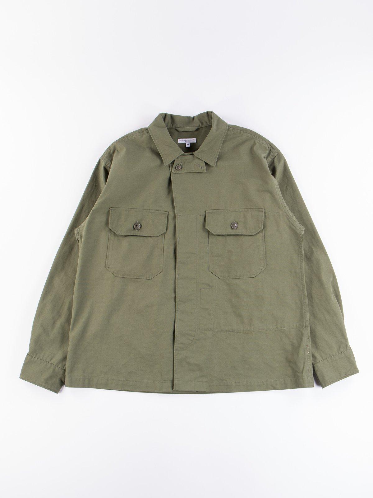 Olive Cotton Ripstop MC Shirt Jacket - Image 1