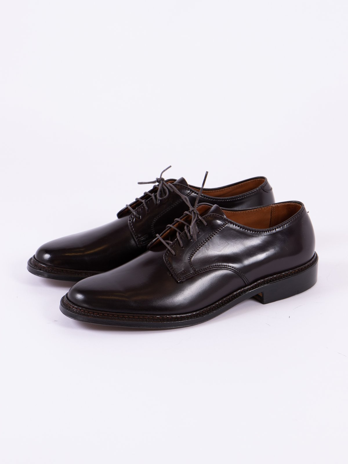 Color 8 Cordovan Plain Toe Blucher with Leather Sole - Image 2