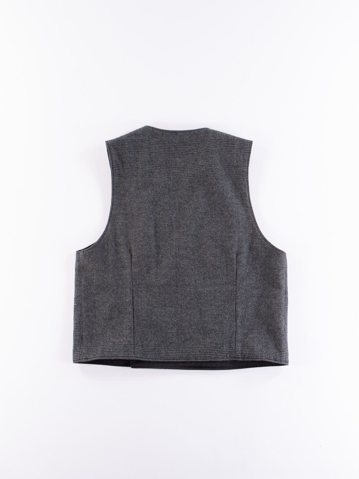 Charcoal Worsted Wool Gabardine Reversible Vest - Image 7