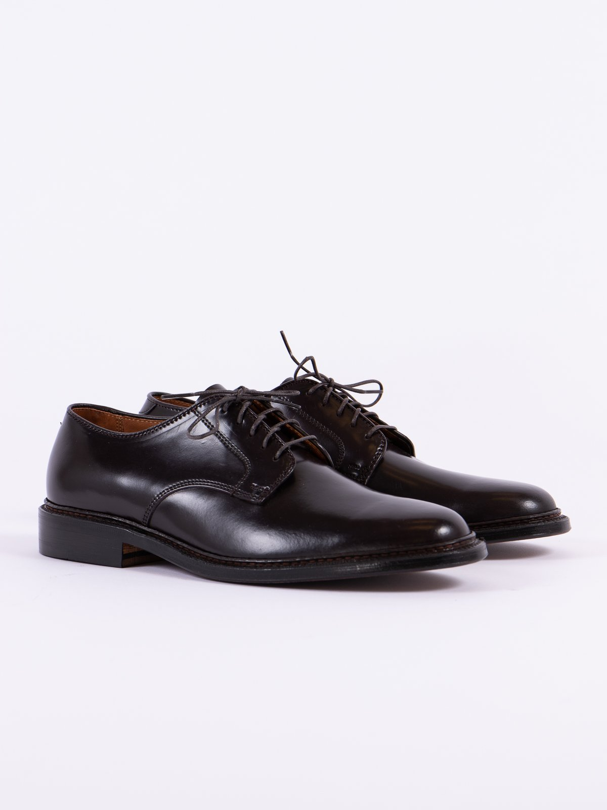 Color 8 Cordovan Plain Toe Blucher with Leather Sole - Image 1