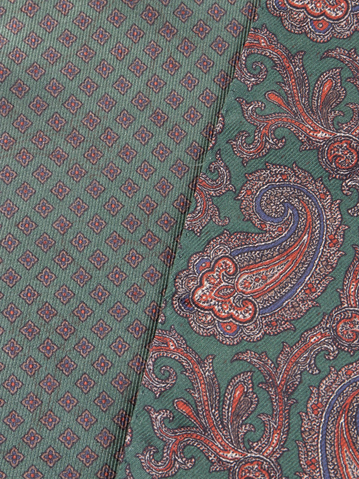 Green Double–Sided Silk Paisley Dress Scarf - Image 2