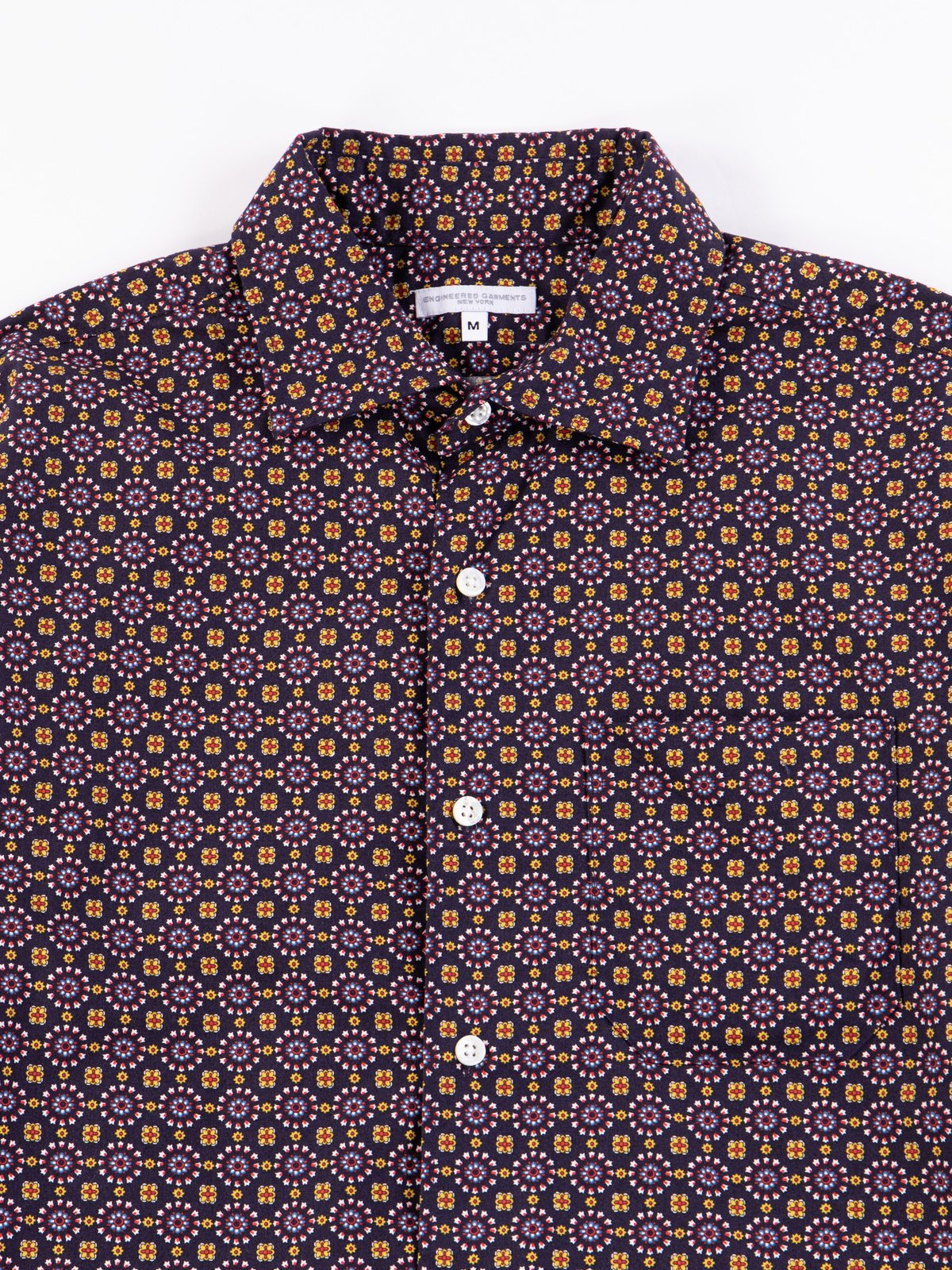 Navy Floral Foulard Print Spread Collar Shirt - Image 4