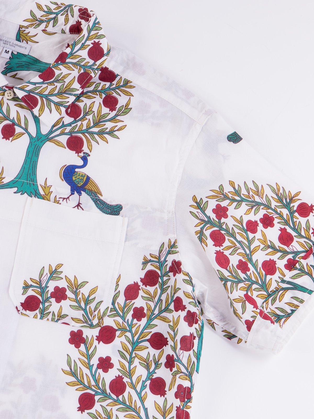 Natural Cotton Lawn Peacock Print Camp Shirt - Image 4