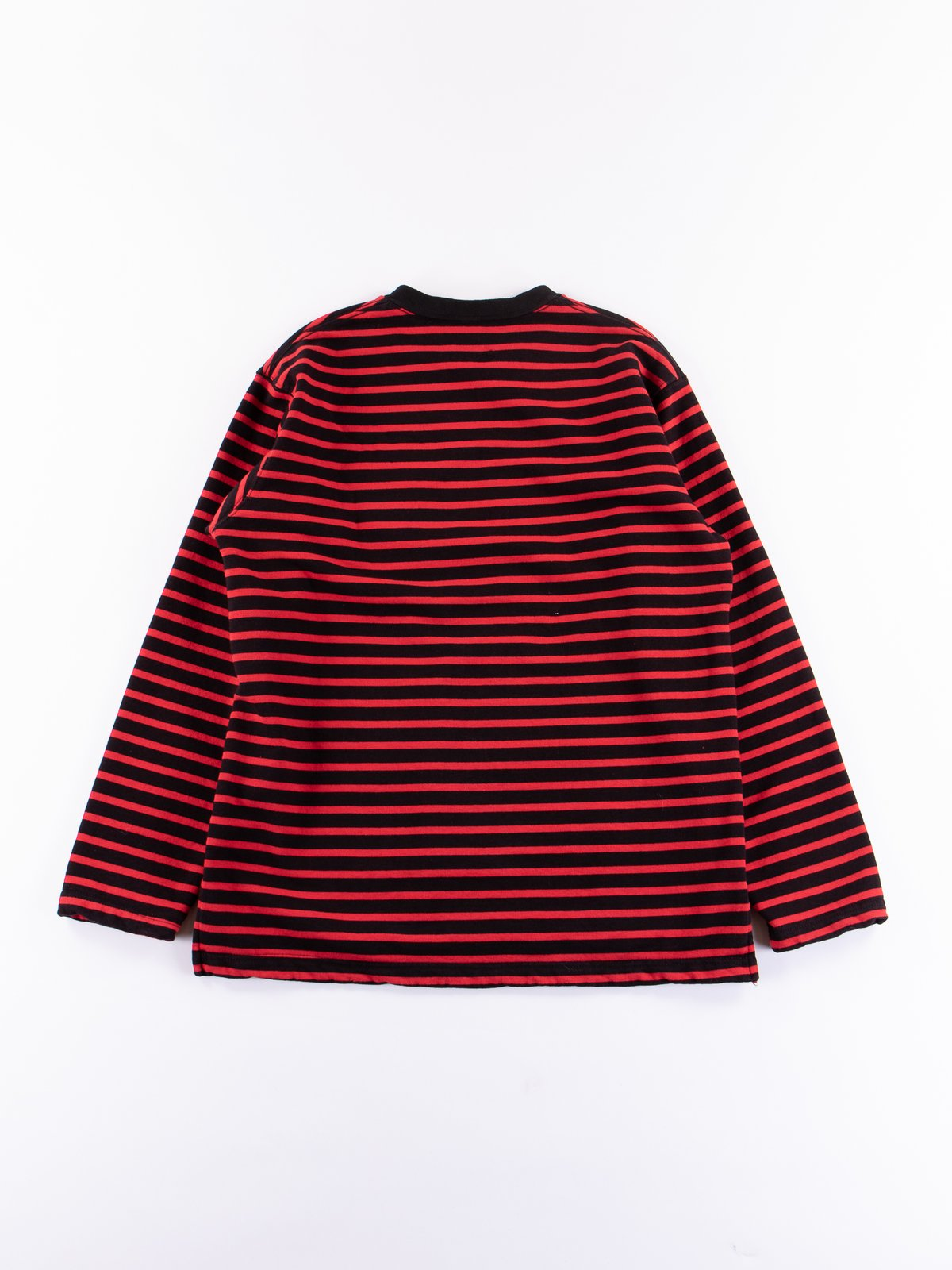 Black/Red Stripe 20oz French Terry Long Sleeve Crew Neck - Image 5