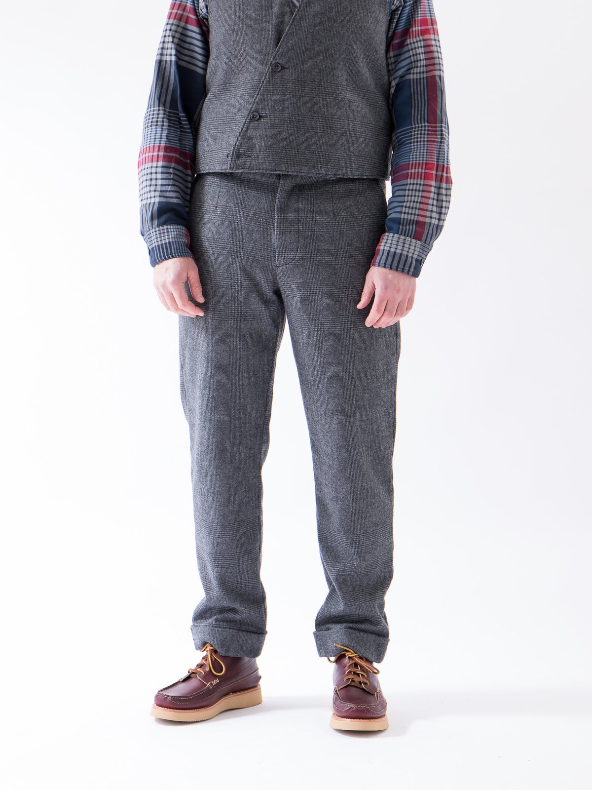 Grey Wool Glen Plaid Stripe Andover Pant - Image 3