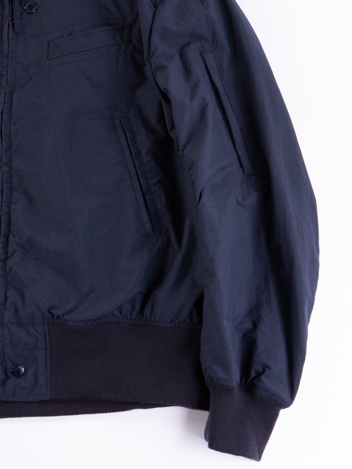 Navy Acrylic Coated Nylon Taffeta Aviator Jacket - Image 4