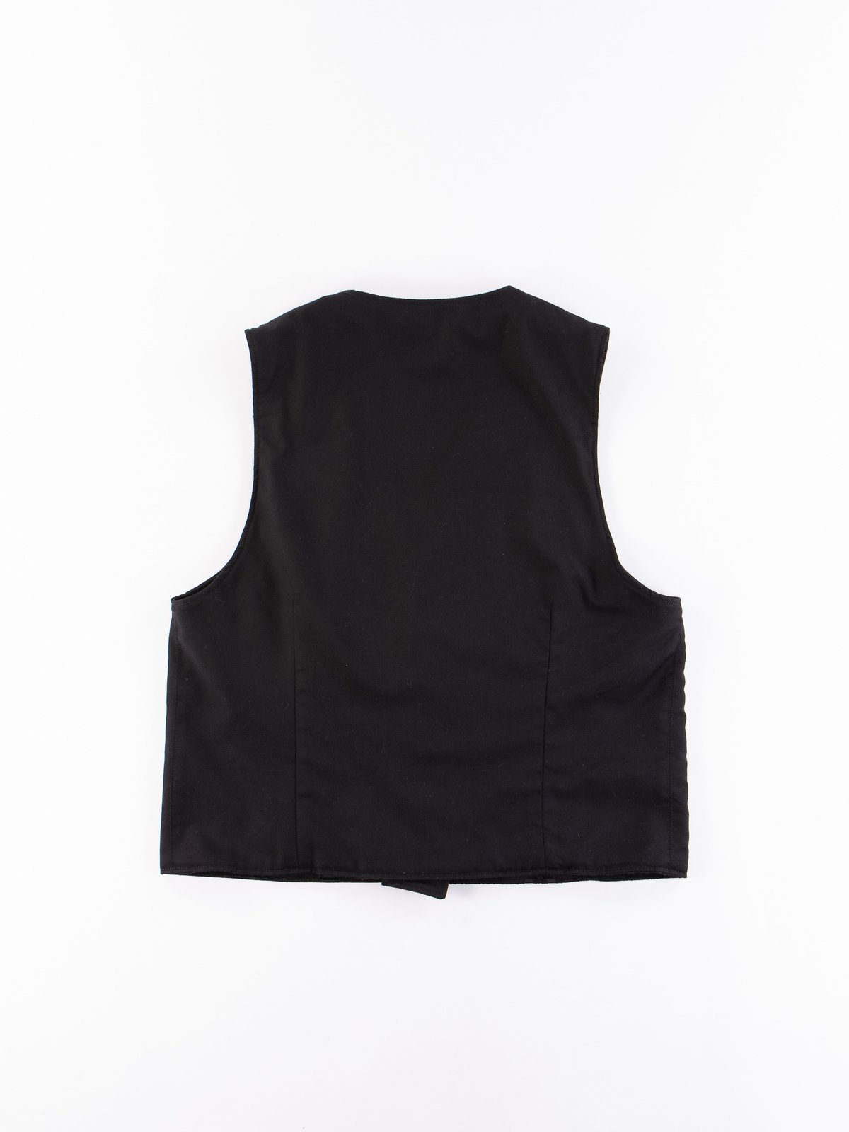 Black Worsted Wool Gabardine Reversible Vest - Image 6