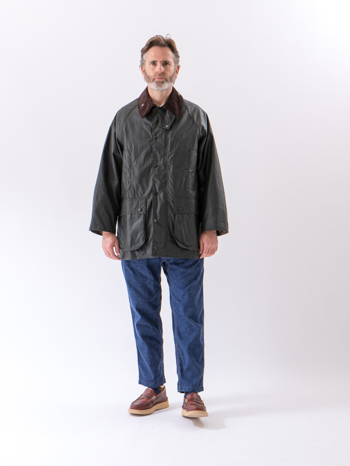 Sage Oversized Beaufort Waxed Cotton Jacket - Image 2