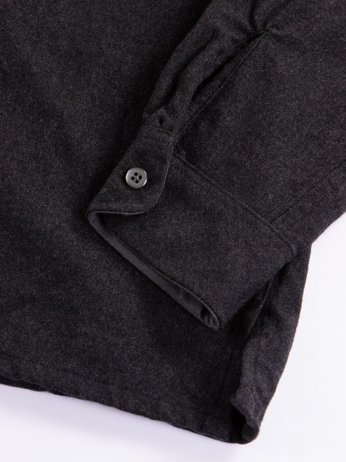 Charcoal Heather Worsted Wool Flannel Classic Shirt - Image 4