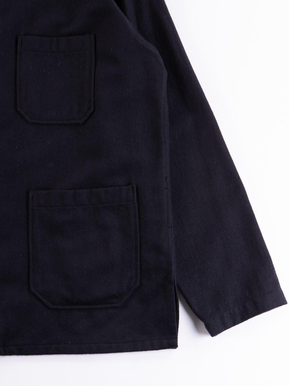 Dark Navy Wool Cotton Flannel Dayton Shirt - Image 4