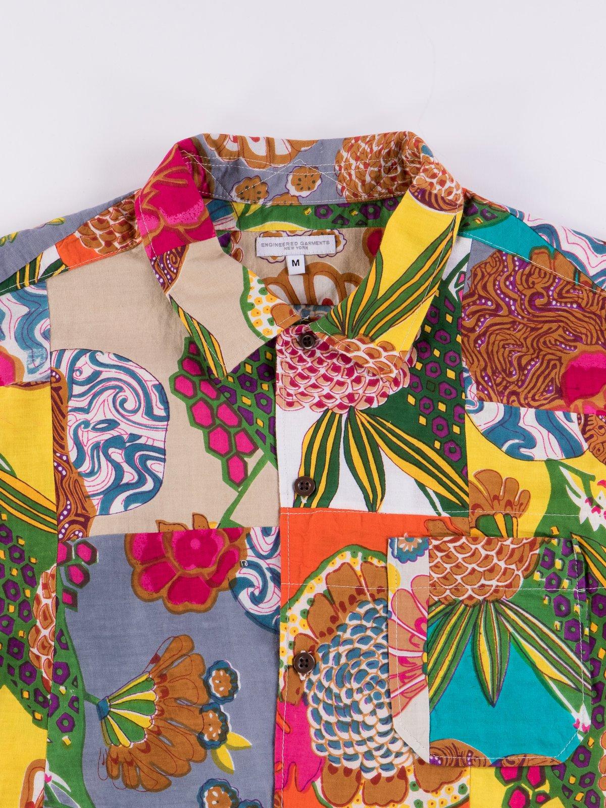 Multi Color Cotton Floral Patchwork Camp Shirt - Image 3