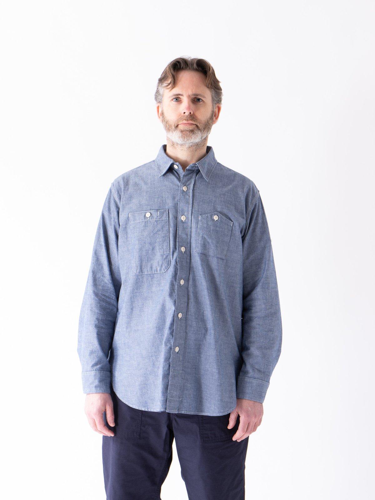 Blue Cotton Chambray Work Shirt - Image 2