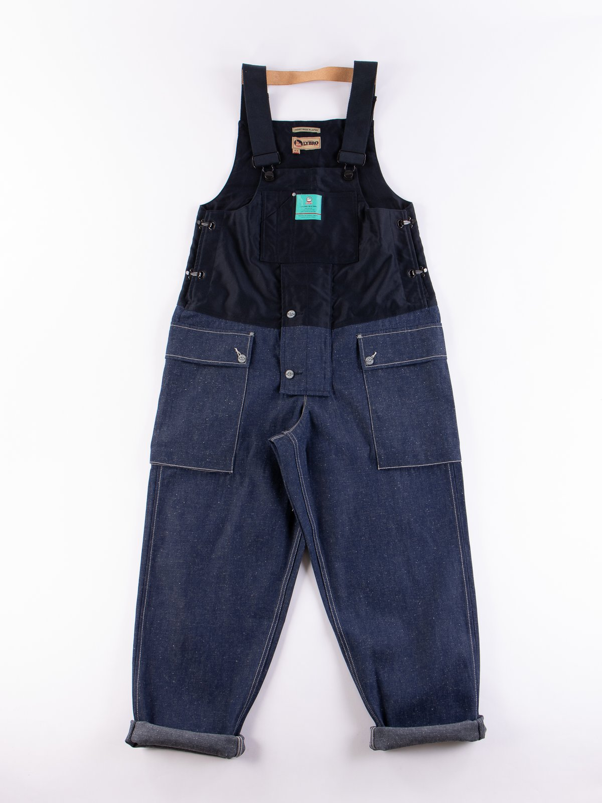 Lybro Split Denim/Navy Sateen Naval Dungaree - Image 1