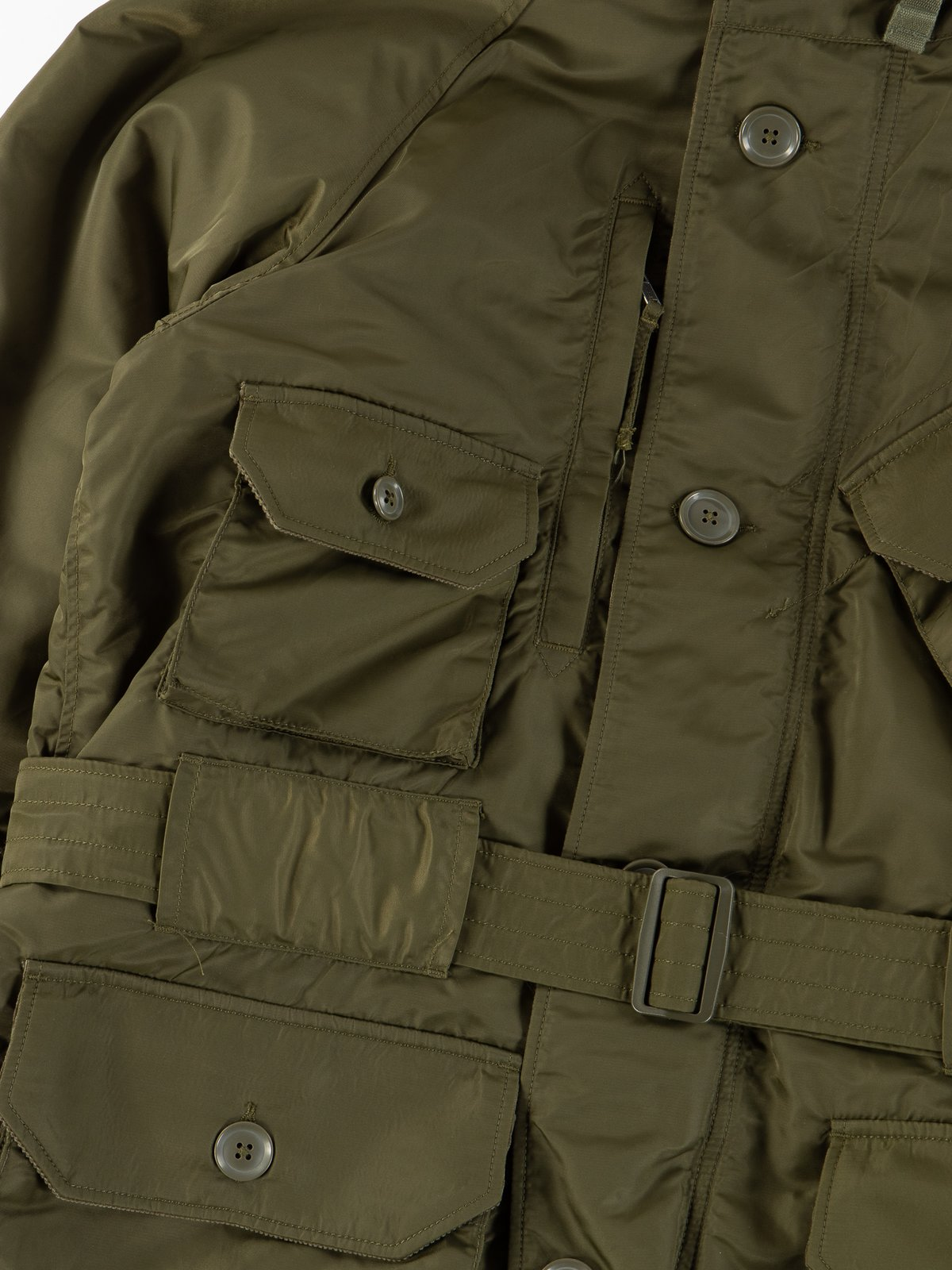Olive Flight Satin Nylon Field Parka - Image 5