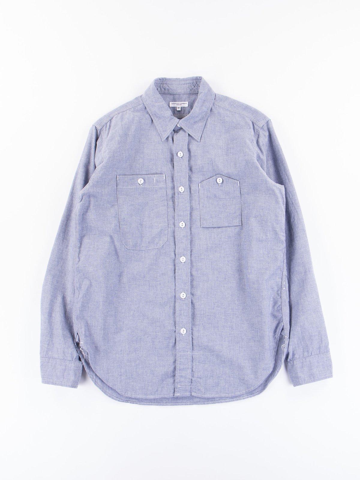 Light Blue Light Weight Cotton Chambray Work Shirt - Image 1