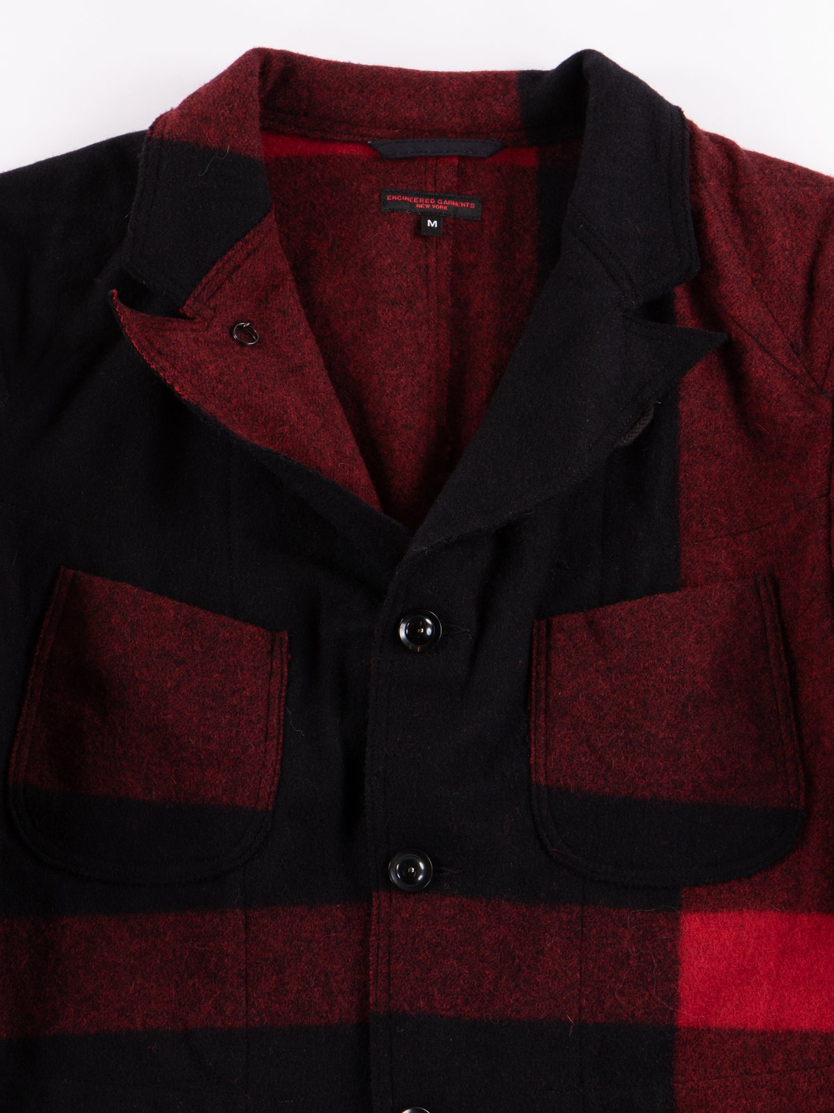 Black Big Plaid Wool Melton RE Bedford Jacket - Image 3