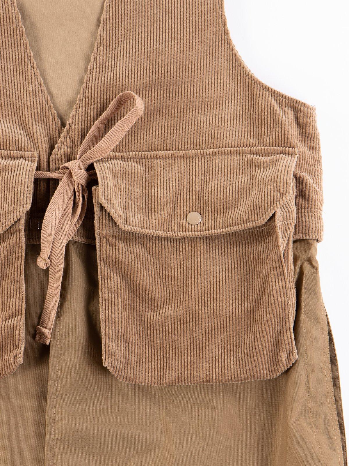 Khaki 8W Corduroy Long Fowl Vest - Image 4
