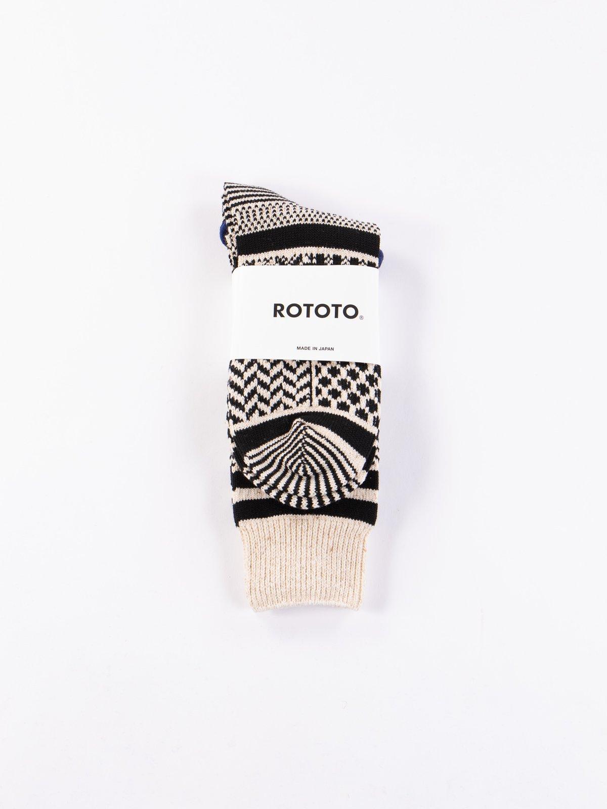 Ivory/Black Multi Jacquard Crew Socks - Image 2